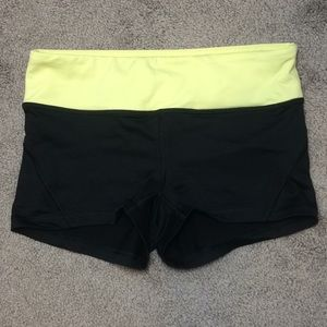 Forever 21 black athletic shorts with yellow